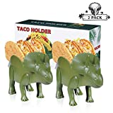"Triceratops Taco Holder Dinosaur Taco Holder Set Stand Shell Double-Slotted Kids Dino Taco Holders 10 x 5.2"" Food Safe Quality for Kid Fun Meal-Time, Pack of 2"