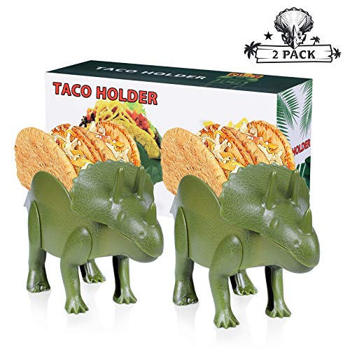 2 Pack - Triceratops Taco Holder, Dinosaur Taco Holder Set Stand, Double-Slotted Taco Truck for Kids Dino Jurassic Taco Holders 10 x 5.2