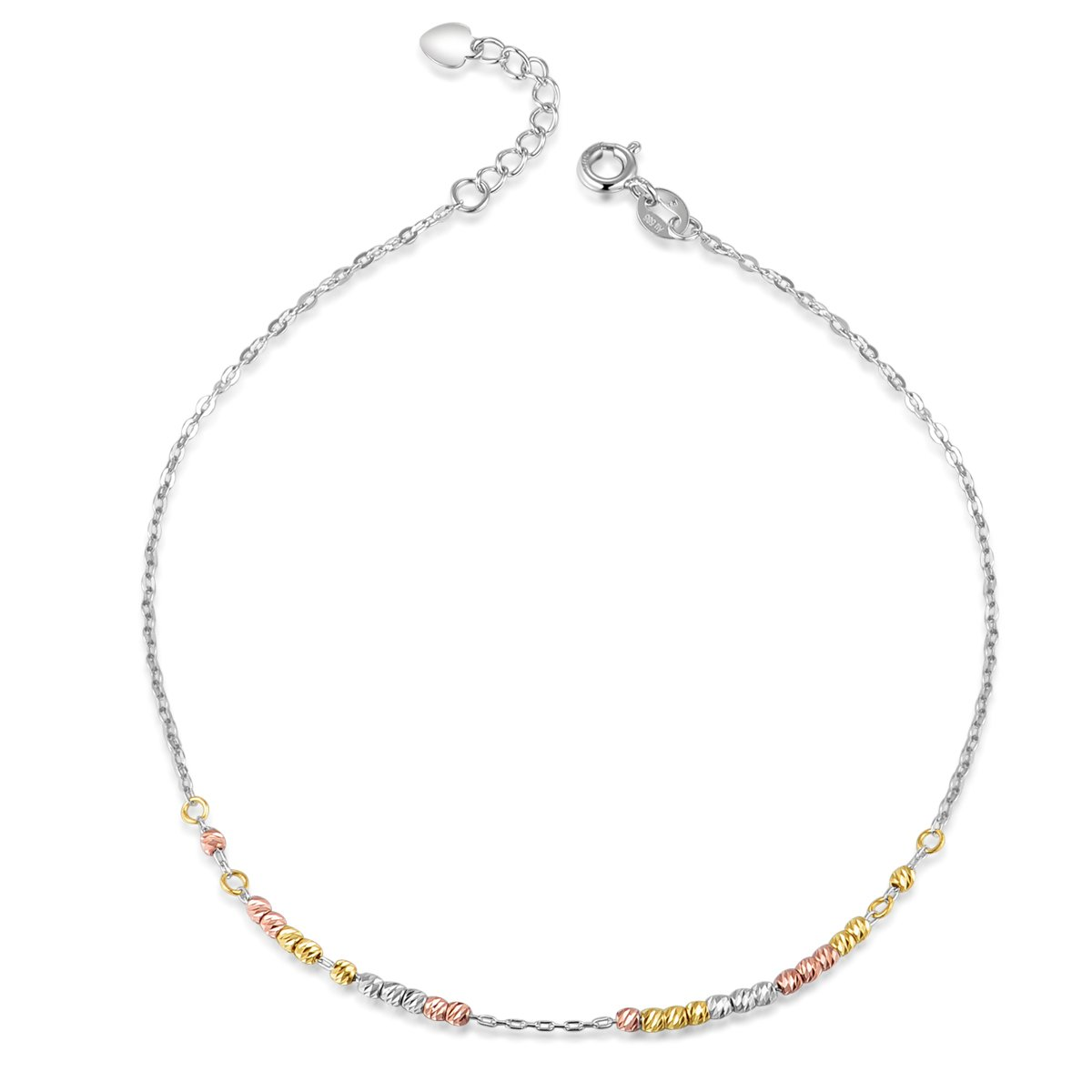 MaBelle 14K Tri-Color Gold Yellow, Rose and White Tiny Running Beads Chain Anklet (9.25'')