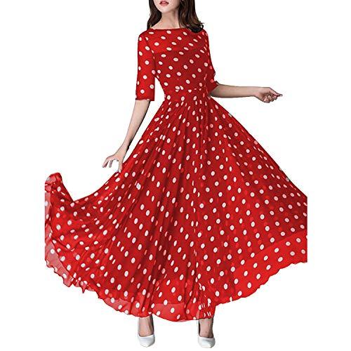 Calladream Women Round Neck Empire Line Ruffled Hem Polka Dot Printed Chiffon Maxi Dresses