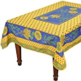 Tournesol Blue/Yellow French Provencal Stain Resistant Tablecloth - 59x94''