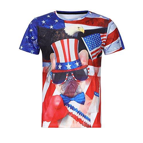 (JIUDASG USA Flag T-Shirt Funny Boys Men 3D American Summer Short Sleeves Blouse Black)