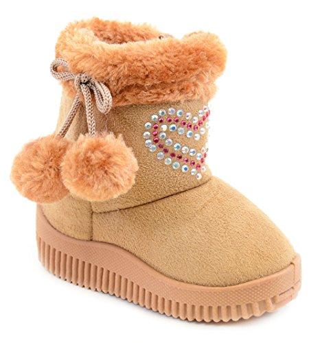 Fourever Funky Unisex Baby's Rhinestone Fashion Pom Winter Boots Tan 9iGjL0