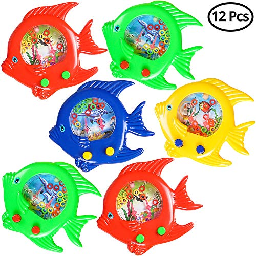 Fish Water Ring Game (Pack OF 12) Fish Handheld Toy, In Assorted Colors, For Kids Small Game Prize, Party Favors, Rewords, By Bedwina (Best Fish For Children)