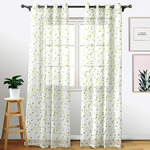 Eamior Indoor Outdoor Sheer Curtain Set - Faux Linen Sheer Voile Drapes for Pergola/Balcony/Verandah (2 Pcs Per Package, W52 x L108, Off White)