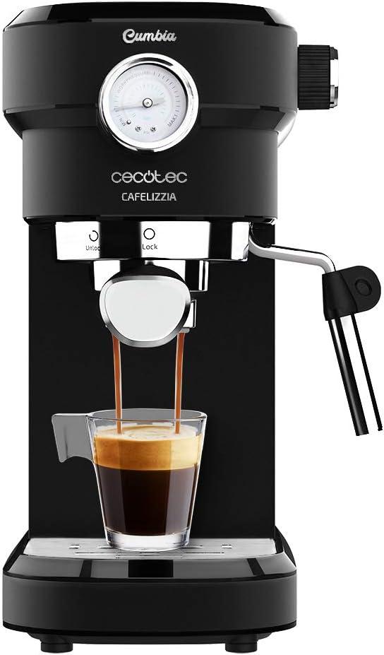 Cecotec Cafetera Espresso Cafelizzia 790 Black Pro. 1350 Potencia máx, Sistema de rápido Calentamiento, 20 Bares, manometro, Modo Auto para 1o 2 cafés, vaporizador orientable: Amazon.es: Hogar