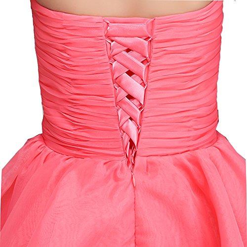Fashion Plaza Girl's Satin Organza Strapless Bridesmaid Flower Girl Dress K0105 12 Coral