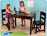 KidKraft 26680 Childrens Kids Wooden Rectangle Table & 2 Chair Set Espresso NEW