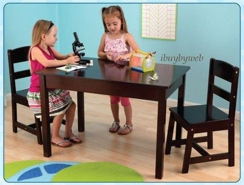 KidKraft 26680 Childrens Kids Wooden Rectangle Table & 2 Chair Set Espresso NEW by rung shop