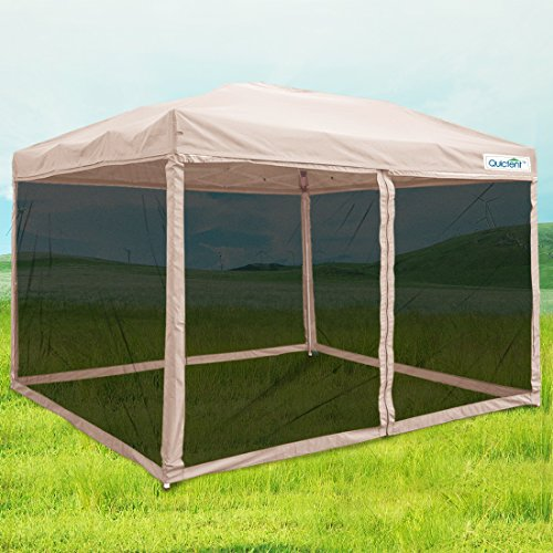 Quictent 8x8 Ez Pop up Canopy with Netting Instant Gazebo Mesh Side Wall Screen House With Carry BAG Tan