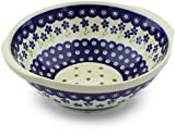 Polish Pottery 10-inch Colander (Bright Peacock Daisy Theme) + Certificate of Authenticity