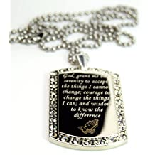 Serenity Prayer Peace Hope Bling Engrave Dog Tag Necklace Pendant 24 inch Stainless Steel Chain Giftpouch and Keyring
