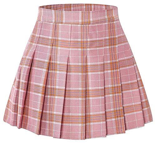 Junior Teen Girls Womens School Uniform Cosplay Costume Plaid Pleated Short Skirt, Pink Plaid Tag XL = US L