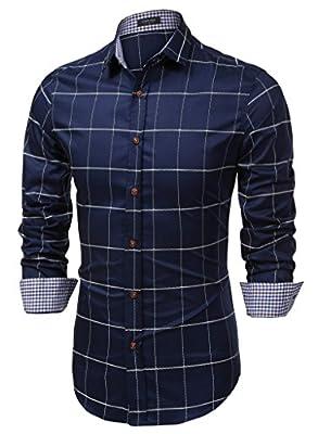 JINIDU Men's Cotton Long Sleeve Plaid Slim Fit Button Down Dress Shirt