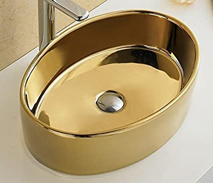 Bathroom Oval Ceramic Porcelain 7151G Polish Gold Vessel Sink Pop Up Drain  + Free Pop Up