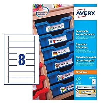Avery Zweckform E3214 - Etiquetas reutilizables para archivadores (115 x 35 mm, 64 unidades), color blanco: Amazon.es: Oficina y papelería