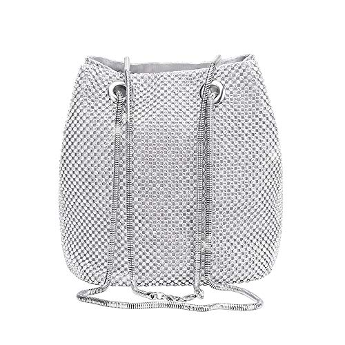 Women's Silver Evening Bag- Full Rhinestones Mini Bucket Bling Crossbody Bag Shoulder Bag Handbag for Party Wedding Date Night ()