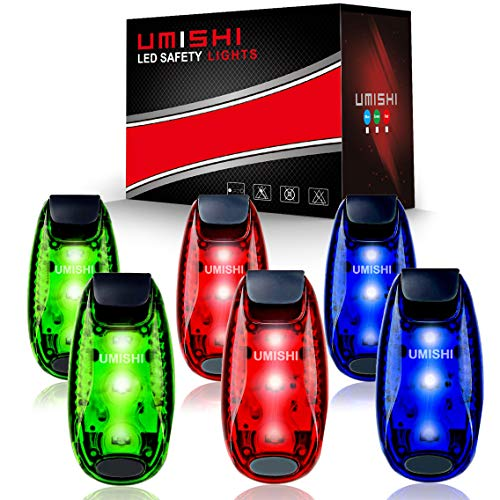 6-Pack LED Safety Light Strobe lights for Daytime Running Walking Bicycle Bike Kids Child Woman Dog Pet Runner Best Flashing Warning Clip on Small Reflective Set Flash Walk Night High Visibility]()