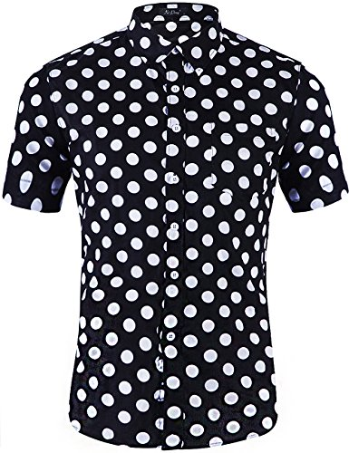 (XI PENG Men's Casual Dress Cotton Polka Dots Short Sleeve Fitted Button Down Shirts (Large, Big Polka Dot Black White))