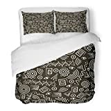 SanChic Duvet Cover Set Red African Tribal Abstract Figures Blue Africa Ethnic Tribe Decorative Bedding Set Pillow Sham Twin Size