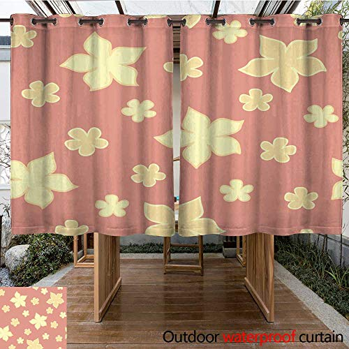 (RenteriaDecor Outdoor Curtains for Patio Sheer Elegance Flower Seamless Pattern W108 x L72)