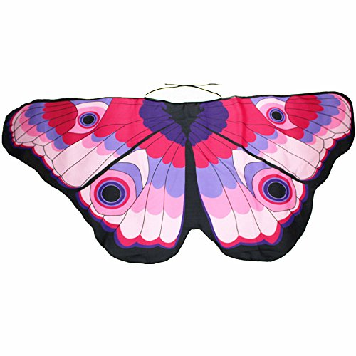 iDWZA Parent-Child Bohemian Butterfly Wing Shawl Pashmina Party Costume Accessory (14768cm,Pink ) -