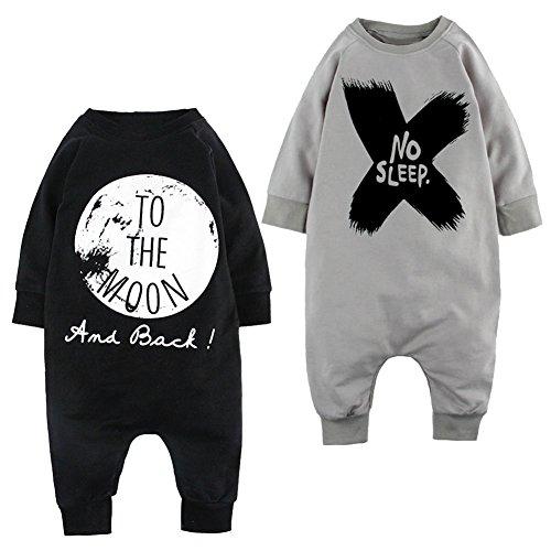 Healthy Clubs 2 Sets Neugeborene Kleinkinder Body Langarm-Overall Unisex Baby Mädchen Jungen Letter Print One-piece Rundhalsausschnitt Strampler Kleidung Outfits Suit
