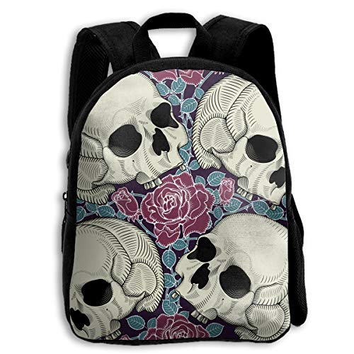 XIANGXIANG SHOP Skull Bites Roses Halloween Melting Skull Children's Bags Toddler School Backpack Bags Lightweight No -