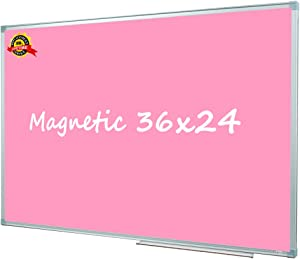 Lockways Magnetic Dry Erase Board, Pink Color Surface Holiday Decor Whiteboard/White Board Christmas Decor 36 x 24 Inch