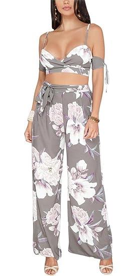 dc8ff6d182b97 VLUNT Women Sexy Floral Print 2 Piece Outfits Bra Crop Top and Wide Leg  Pants Jumpsuits
