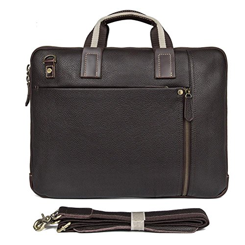 GTUKO JMD Vintage Style Real Leather Hand Maletín Laptop Bag Men Messenger Bag Classic Cross Body Bag 18Cmx 5.5Cmx 30.5Cm (Lxwxh) , Coffee coffee