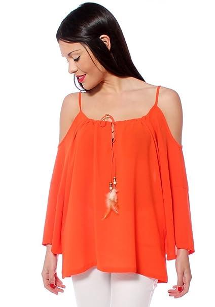 Uve Moda off-the-shoulder blusa con plumas Rojo rosso Small