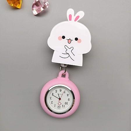 Reloj de Enfermera,Mesa de Enfermera retráctil de Dibujos Animados, Reloj Colgante Reloj de Bolsillo médico Estuche Acolchado-Vino Tinto,Broche Movimiento Cuarzo Clip Reloj: Amazon.es: Hogar