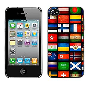 MOBMART Carcasa Funda Case Cover Armor Shell PARA Apple iPhone 4 / 4S - Flags Of Different Countries