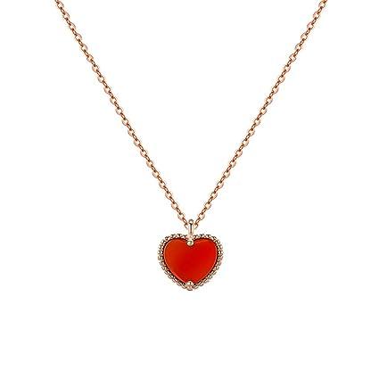 codice promozionale 771a8 2d04e C&S CS Collana con ciondolo cuore rosso S925 Collana con ...