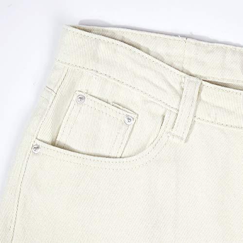 Boyfriend Beige Recto Vaquero Ancha Mujer Cintura Pierna Casual Para Jeans H4t4qzP