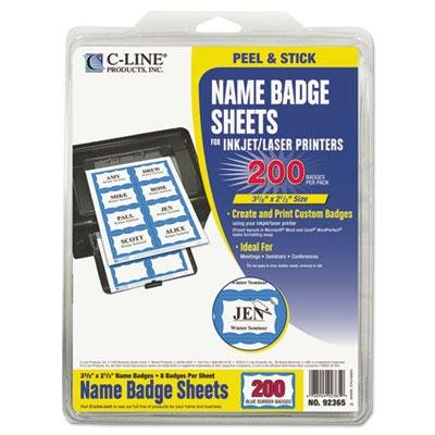 C-Line - Self-Adhesive Inkjet/Laser Printer Name Badges 3-3/8 X 2-1/3 Blue 200/Box