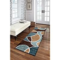 111 X 56 Multi Color Geometric Waves Modern Runner Rug, Indoor Abstract Shapes Semi Circle Color Block Hallway Entry Way Rectangle Carpet Large Flooring Mat Teal Blue Brick Chocolate, Olefin Nylon
