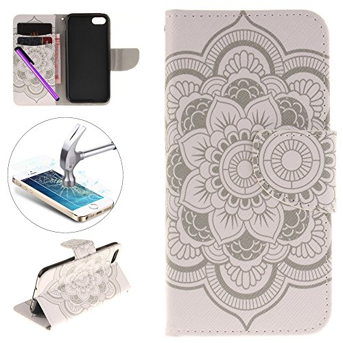 Embossing Petals - iPhone 7 Wallet Case, [Card Slot][Kickstand] ISADENSER 3D Embossing Case Stylish Wallet Case Kickstand Credit Cards Cash Pockets for iPhone 7 + 1 Stylus Pen + 1 Screen Protector Film (Eight petal)
