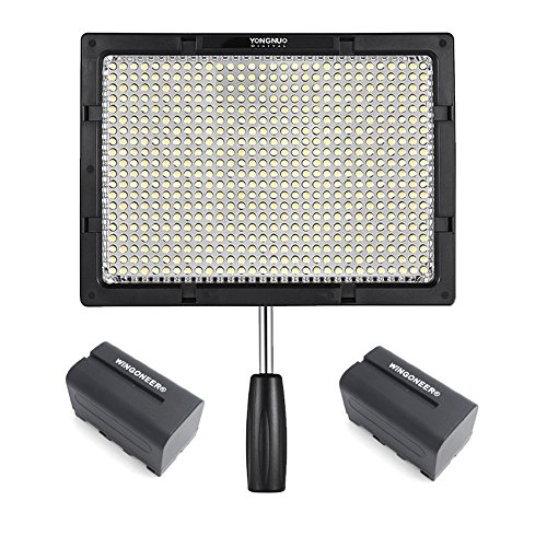 YONGNUO YN600S LED Video Light Lamp Photography Fill Light 600pcs LEDs 3200K-5500K with 2PCS WINGONEER NP-F750 Battery and Battery Charger