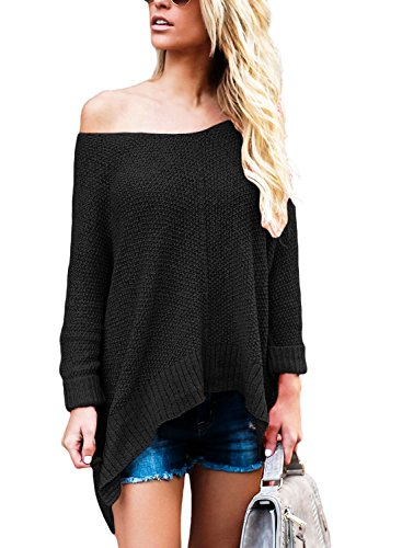 SherryDC Women's Off Shoulder Batwing Sleeve Loose Fitting Knitted Pullover Sweater Knitwear Jumper Tops,(US (Loose Fitting Pullover)