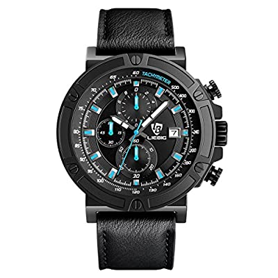 Men's Watch LIEBIG Chronograph Watch with a Black Dial and a Black Leather Strap Commander series ZHG161014