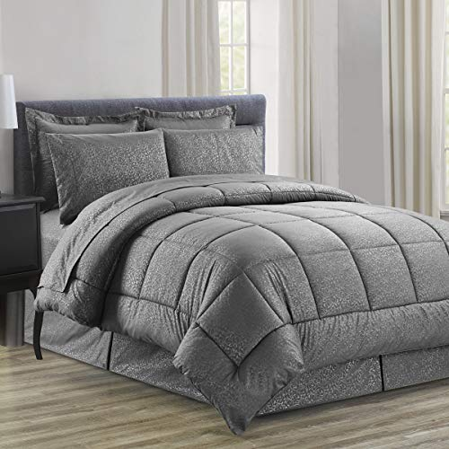 Sweet Home Collection 8 Piece Comforter Set Bag with Embossed Vine Design, Bed Fitted, 1 Flat Sheet, 2 Pillowcases, 2 Shams, King Gray