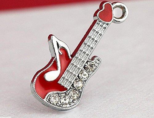 Rhinestone Guitars - M195-E Wholesale 10pcs Cute Little Red Musical Guitar DIY Charms Pendants