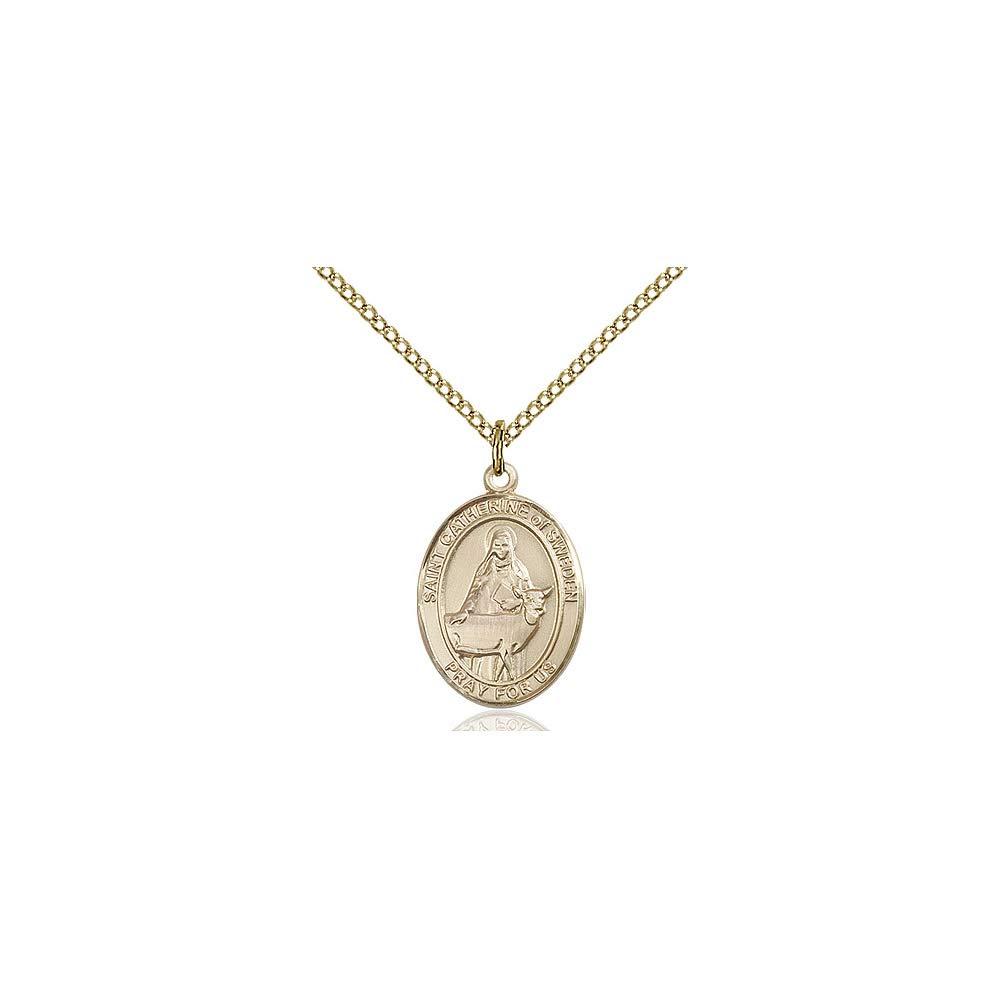 DiamondJewelryNY 14kt Gold Filled St Catherine of Sweden Pendant
