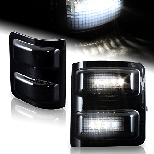 HK5 Side Mirror Running Signal Lights Smoked Lens With White LED compatible with 2008-2016 Ford Super duty