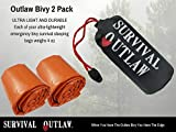 New - Outlaw Bivy - Emergency Sleeping Bag 2 Pack - Ultra Light Waterproof Thermal Mylar Bivvy Sack for Camping and Survival. Includes Free waterprooft