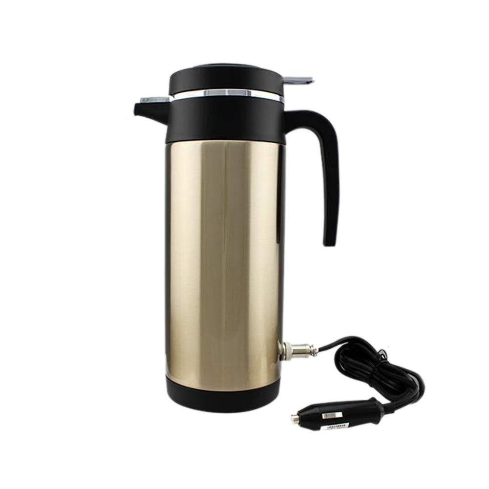1200ML Car Heating Water Bottle 12V/24V Stainless Steel Electric In-car Kettle, Travel Electric Heated Kettle With Car Cigarette Lighter (Color : 12v)