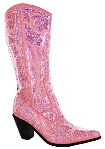 Pink Knee High Boots - Helen's Heart Bling Boots (11, Pink)