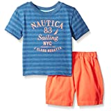 Nautica Baby Boys Graphic Tee With Pull On Short Set, Dark Blue, 12 Months